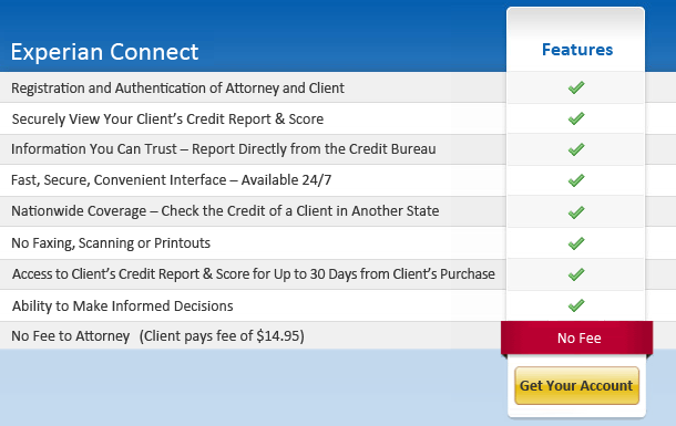 Attorney's Can View Prospective Client's Credit Report & Score