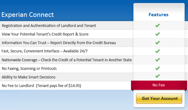 Credit Score Report >> No Fee Tenant Credit Report For Landlords Experian Connect