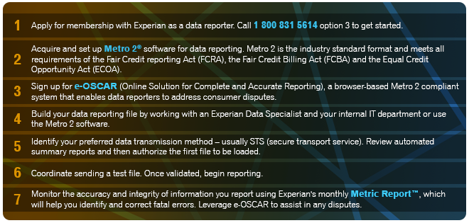 7                      Steps to Reporting to Experian