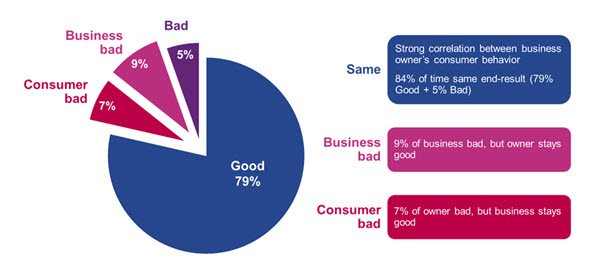 Experian comparison of risk between consumer credit and business owner credit