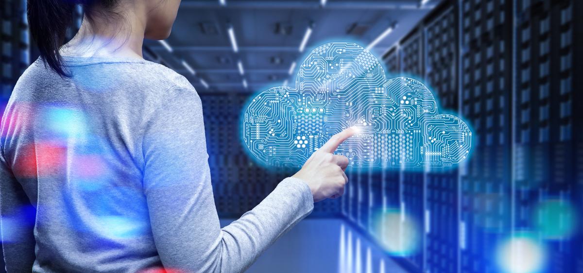 woman touching virtual cloud