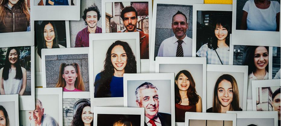 Many instant photos of people's headshots