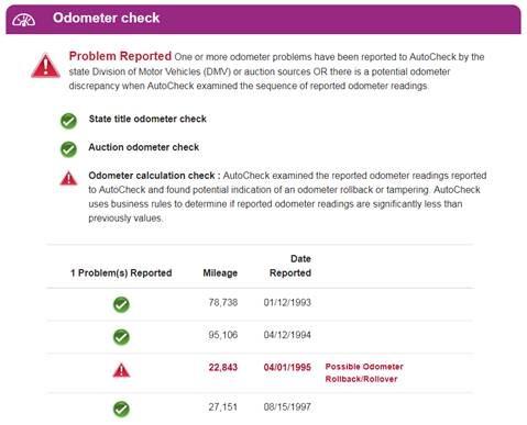 AutoCheck Odometer Check