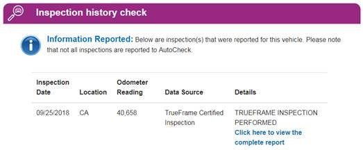 AutoCheck Inspection History