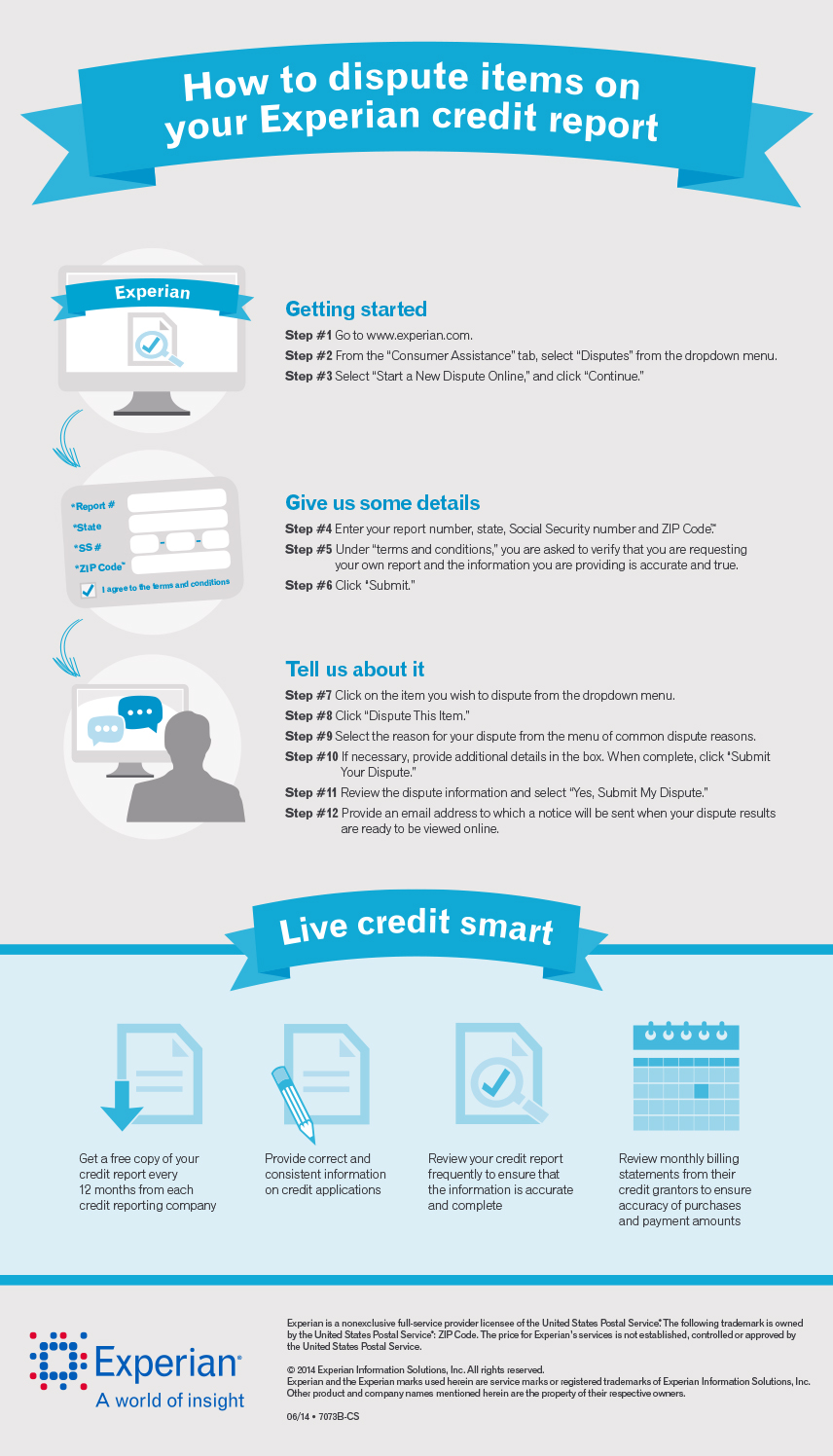 Credit Report Dispute >> How To Dispute Items On Your Experian Credit Report Infographic