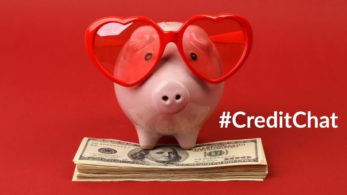 Piggy bank with red heart glasses on standing on top of hundred dollar bills #CreditChat