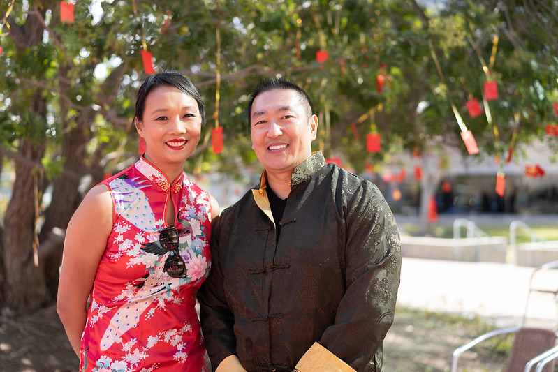 Dacy Yee and Jimmy Cheung in traditional wear at Experian's Lunar New Year celebration
