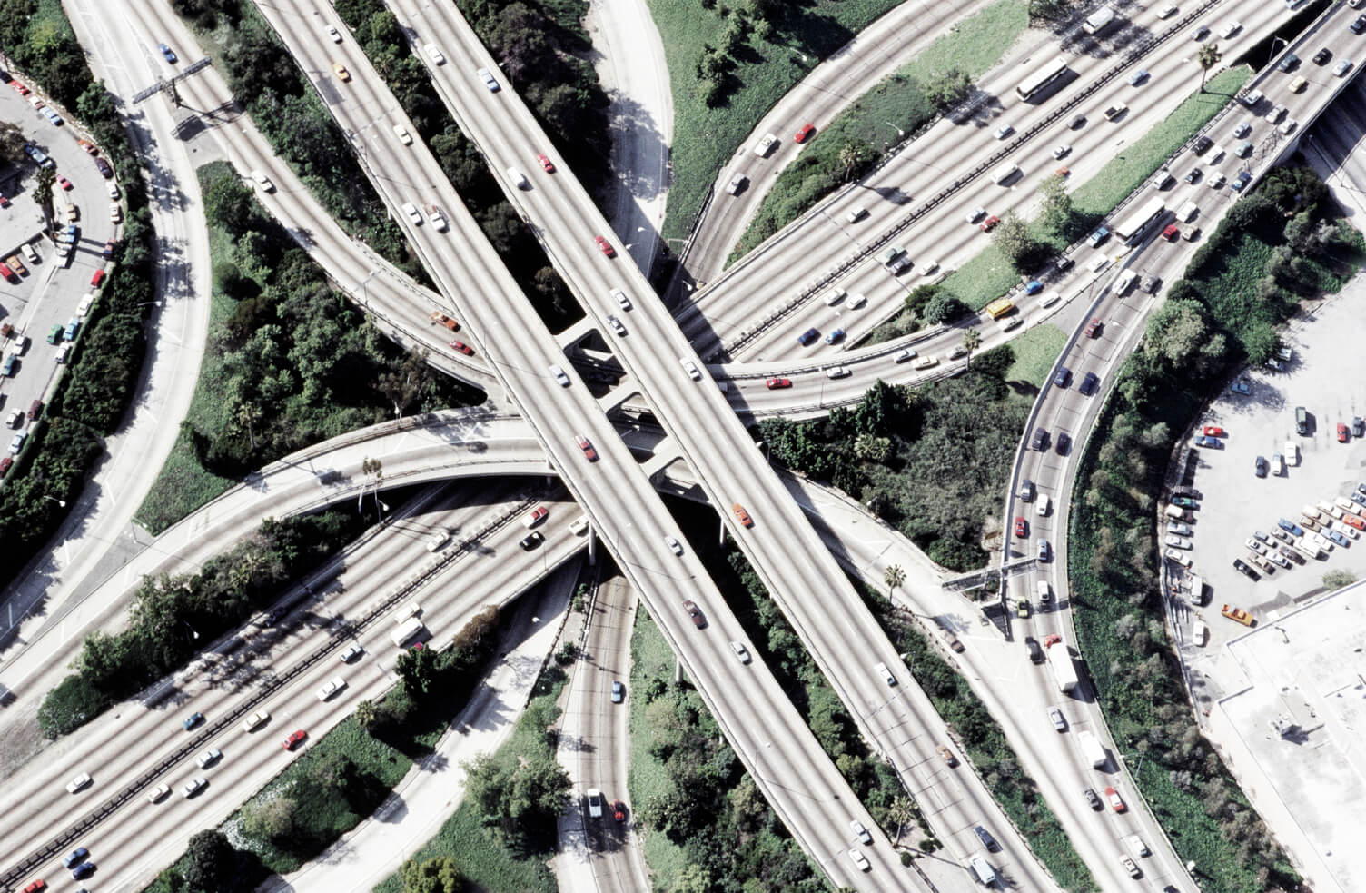Freeway interchange from above.
