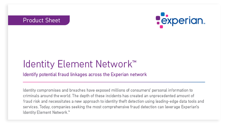 Identity element network product sheet cover