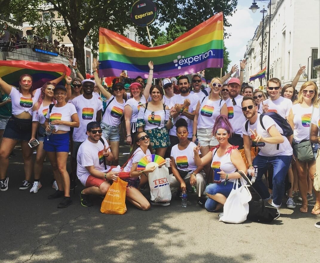 Picture of Experian Colleagues celebrating at a Pride March