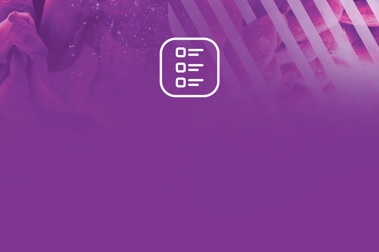 Purple ink with striped white squircle in background and a task/list icon indicating an agenda