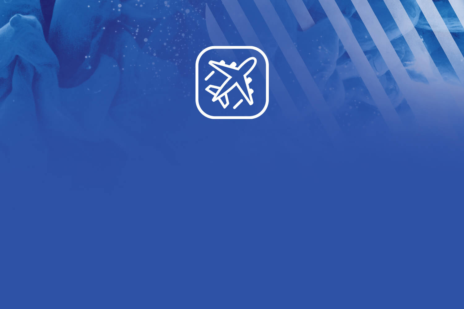 Blue ink with striped white squircle in background and an airplane icon indicating travel
