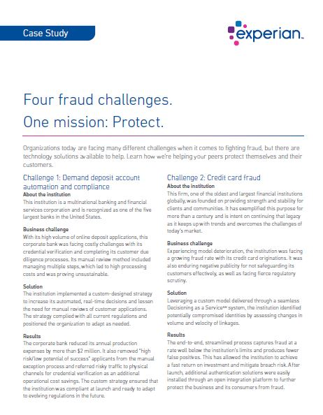 Case Study: 4 fraud challenges